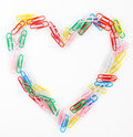 Multicoloured plastic paper clips Stock Images