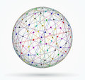 Multicoloured sphere of global digital connections network illustration Stock Image