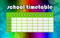 Multicoloured timetable school template with colourful abstract background Royalty Free Stock Image