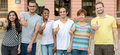 Multicultural group of students giving thumbs up Royalty Free Stock Photo