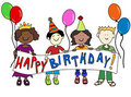 Multicultural kids with Birthday banner Royalty Free Stock Image