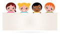 Multicultural kids holding blank banner sign Royalty Free Stock Images