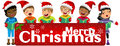 Multicultural kids wearing xmas hat singing Christmas carol banner isolated