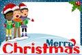 Multicultural kids xmas hat singing Christmas carol blank frame
