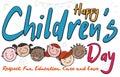 Multicultural Smiling Kids in Doodle Style Celebrating Children`s Day, Vector Illustration