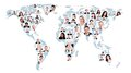 Multiethnic business people on world map Royalty Free Stock Photo