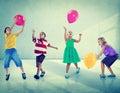 Multiethnic Children Balloon Happiness Friendship Concept Royalty Free Stock Photo