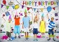 Multiethnic Children Celebrate Happy Birthday Party