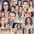Multiethnic group of happy smiling people men and women Royalty Free Stock Photo