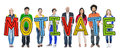 Multiethnic Group of People Holding Motivate Royalty Free Stock Photo