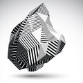 Multifaceted asymmetric contrast figure with parallel lines. Royalty Free Stock Photo