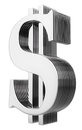 Multilayer dollar sign isolated on white Royalty Free Stock Photo