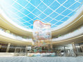 Multilevel megamall hall with glass roof and a fountain decorative stele multi colored balls d render Royalty Free Stock Photo