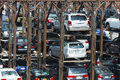 Multilevel parking in new york city stack lot filled with cars from different manufacturers midtown manhattan being space Stock Image