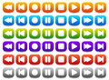 Multimedia, Audio - Video Player Control Buttons in Various Colo Royalty Free Stock Photo