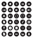 Multimedia black linear icons set Royalty Free Stock Photo