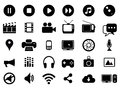 Multimedia black and white icons set Royalty Free Stock Photo