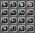 Multimedia buttons black glossy web elements for applications electronic and press media made of glass vector illustration Royalty Free Stock Photo