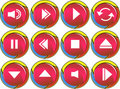 Multimedia Buttons - Red Round Stock Photos