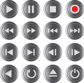 Multimedia control icon/button set Stock Photo