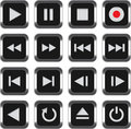 Multimedia control icon set Stock Images