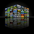 Multimedia cube Stock Photography