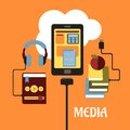 Multimedia flat concept with headphones connected to an mp player tablet showing various online apps and books connected to the Royalty Free Stock Photos