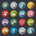 Multimedia flat icon set Royalty Free Stock Photo