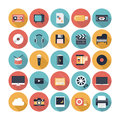 Multimedia flat icons set modern vector illustration collection with long shadow design effect in stylish colors of symbols sound Royalty Free Stock Photography