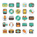 Multimedia flat icons set modern vector illustration collection in stylish colors of symbols sound instruments audio and video Royalty Free Stock Photography