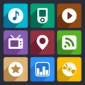 Multimedia flat icons set for web and mobile applications Royalty Free Stock Photo