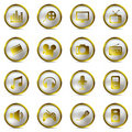 Multimedia gold icons set Stock Image
