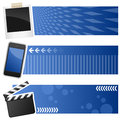 Multimedia horizontal banners a collection of three with a polaroid frame a cell phone and a movie clapboard on blue background Royalty Free Stock Images