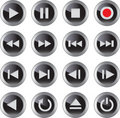 Multimedia icon/button set Stock Photo