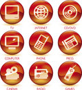Multimedia icon set green (vector) Royalty Free Stock Photography