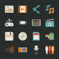 Multimedia icons with black background eps vector format Stock Photography