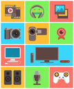 Multimedia icons set of modern flat in colored squares Royalty Free Stock Photography