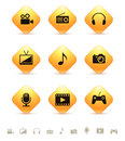 Multimedia icons on yellow rhombus buttons Royalty Free Stock Photo
