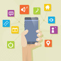 Multimedia mobile phone concept smartphone background whit icons and design elements Stock Photography