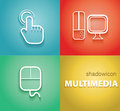 Multimedia shadow icons multi media technology illustration great for web print or applications Royalty Free Stock Images