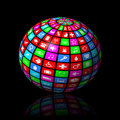Multimedia sphere on black background Royalty Free Stock Photo