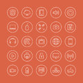 Multimedia and technology flat line icons Stock Photos