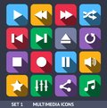 Multimedia vector icons with long shadow set this is file of eps format Royalty Free Stock Photography