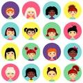 Multinational female face avatar profile heads