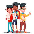 Multinational Group Of Students In Graduation Caps And With Diplomas In Hands Vector. Isolated Illustration