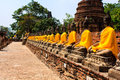 Multiple buddha statue shown ancient temple Royalty Free Stock Photography