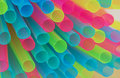Multiple colored drinking straws mix of plastic Stock Image
