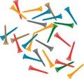 Multiple colored golf tees