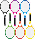 Multiple colored tennis rackets Royalty Free Stock Photo