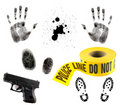 Multiple Crime Elements on White Stock Photos